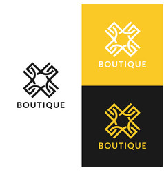 abstract logo with line ornament luxury boutique vector image