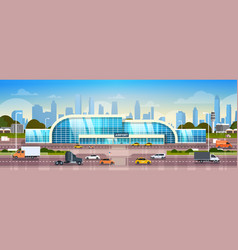 airport building exterior modern terminal with vector image
