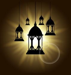 arabic lantern black shadow silhouette vector image