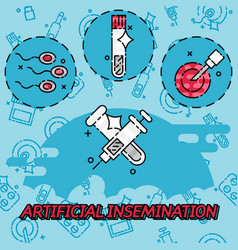 artificial insemination flat concept icons vector image