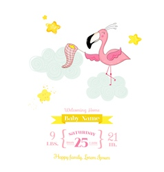 Baby Shower Card - Baby Flamingo Girl in Stars vector
