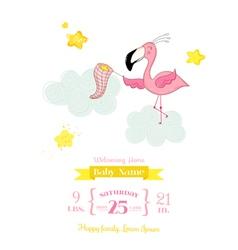 Baby shower card - flamingo girl in stars vector