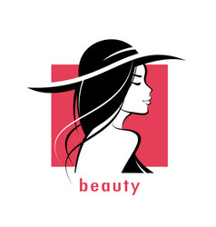 Beautiful woman in hat stylized silhouette vector