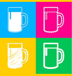 beer glass sign four styles of icon on four color vector image