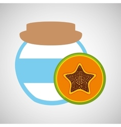 Big jar papaya jam icon design vector