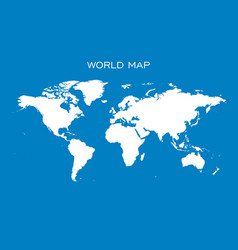 Blank white world map isolated on blue background vector
