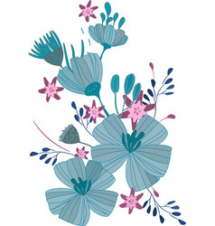 blue flowers a bouquet daisies vector image