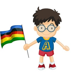 Boy carrying flag for sport event vector image