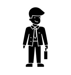 businessman with case icon vector image