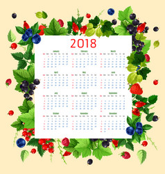 calendar 2018 of fresh berries and fruits vector image