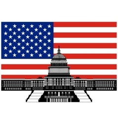 Capitol building and the us flag vector