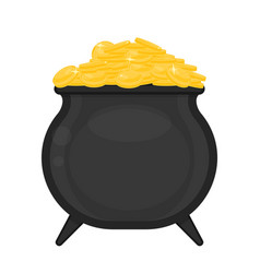 cauldron with gold coins vector image
