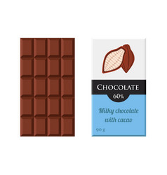 Chocolate bar cacao label package sweet milky vector