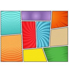 Collection comic book backgrounds vector