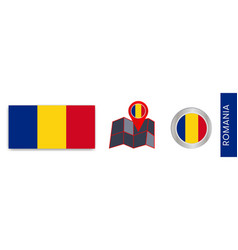 Collection romanian national flags isolated vector