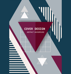 cover template design with geometric memphis vector image