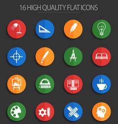 creative process 16 flat icons vector image