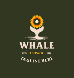 creative whale flower logo vector image