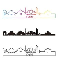Delhi skyline linear style with rainbow vector image