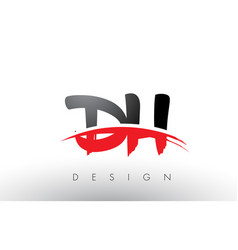 dh d h brush logo letters with red and black vector image