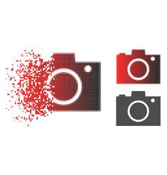 Disintegrating pixelated halftone photo camera vector