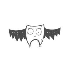 Doodle icon of strange bat or owl with big eyes vector