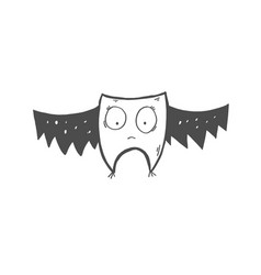 doodle icon strange bat or owl with big eyes vector image