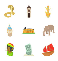Enigmatic world icons set cartoon style vector