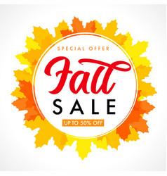 fall sale in frame on orange maple leaves banner vector image