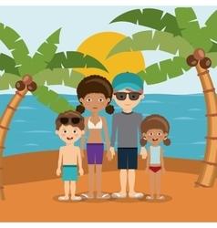 family beach vacation design vector image