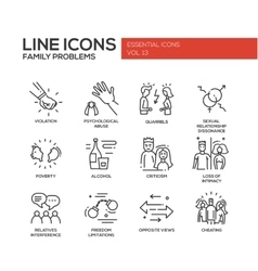 Family problems- line design icons set vector