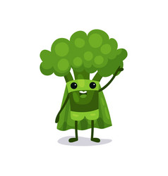 Flat cartoon broccoli character in superhero suit vector