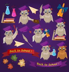 Flat on school theme bird owl holding various vector