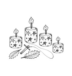 four christmas candles with holly leaves and woode vector image