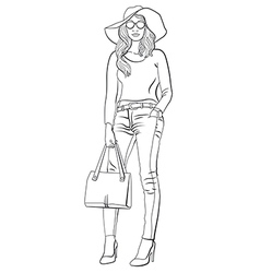 girl in jeans vector image
