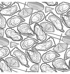 Graphic oysters pattern vector