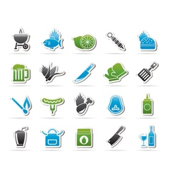 Grill and Barbecue Icons vector image