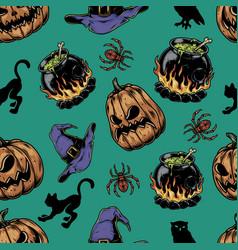 halloween vintage seamless pattern vector image