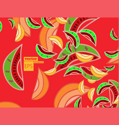 Hand drawn summer backgroundripe watermelon vector