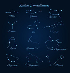 Hand drawn zodiac constellations vector