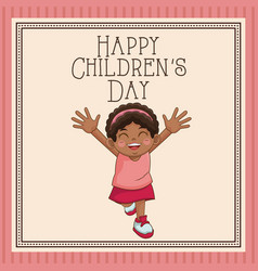 Happy children day card cute african girl pink vector