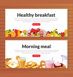 Healthy breakfast morning meal dishes landing page vector