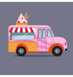Ice cream truck in flat style vector