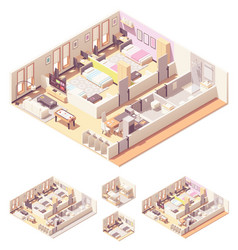 isometric dormitory or dorm room vector image