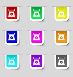 kitchen scales icon sign Set of multicolored vector image