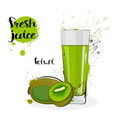 Kiwi juice fresh hand drawn watercolor fruits and vector