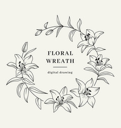 Lily flower wreath floral wreath flowers vector