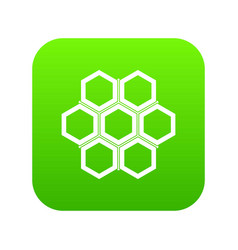 little honeycomb icon digital green vector image