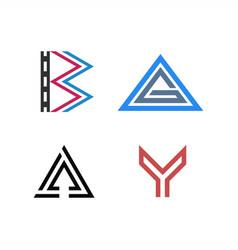 Logo letter b film triangle g a arrow up y vector