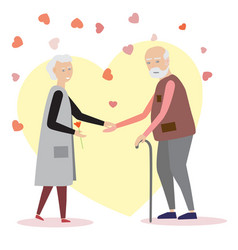 loving elderly couple on a background with hearts vector image